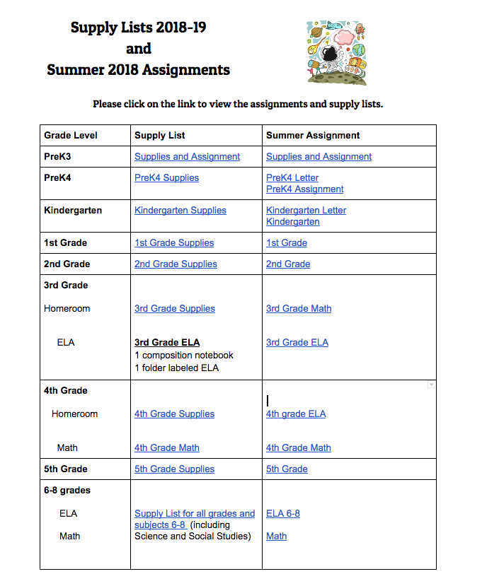 supply lists and summer assignments
